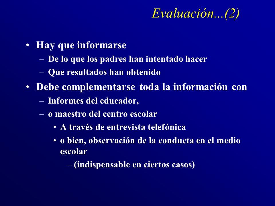 Evaluación...(2) Hay que informarse –De lo que los padres han intentado hacer –Que resultados han obtenido Debe complementarse toda la información con