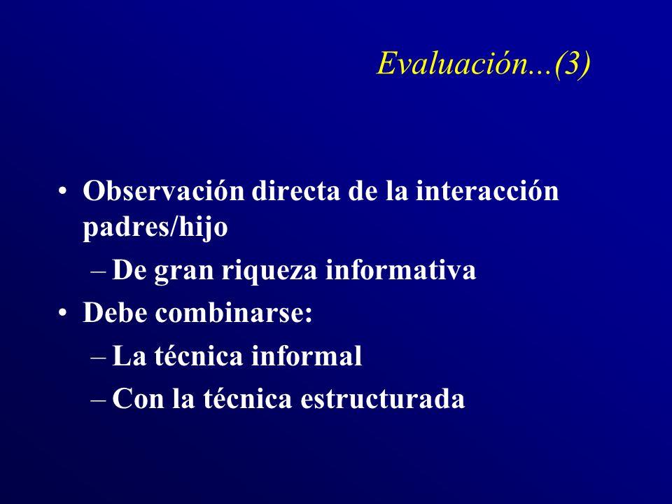 Evaluación...(3) Observación directa de la interacción padres/hijo –De gran riqueza informativa Debe combinarse: –La técnica informal –Con la técnica estructurada