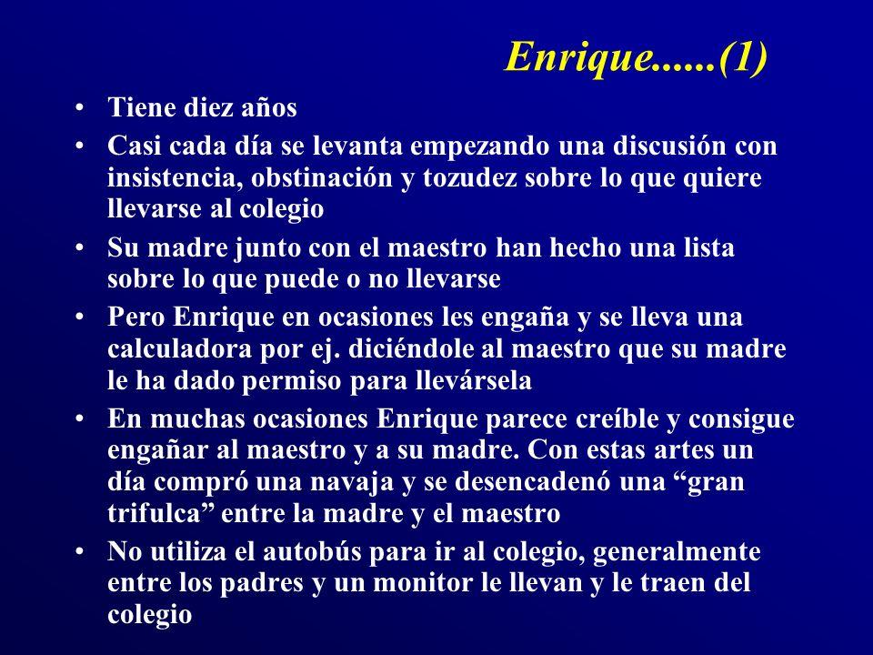 Enrique......(1) Tiene diez años Casi cada día se levanta empezando una discusión con insistencia, obstinación y tozudez sobre lo que quiere llevarse