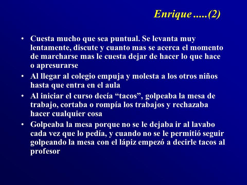 Enrique.....(2) Cuesta mucho que sea puntual. Se levanta muy lentamente, discute y cuanto mas se acerca el momento de marcharse mas le cuesta dejar de