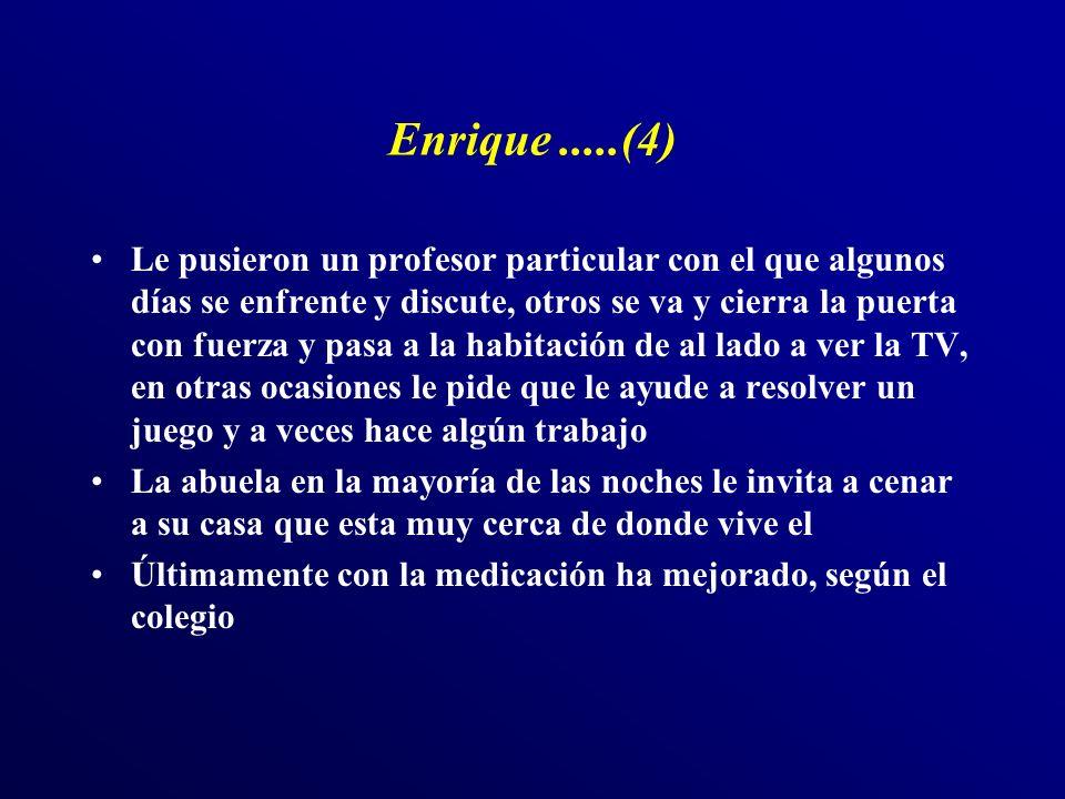 Enrique.....(4) Le pusieron un profesor particular con el que algunos días se enfrente y discute, otros se va y cierra la puerta con fuerza y pasa a l