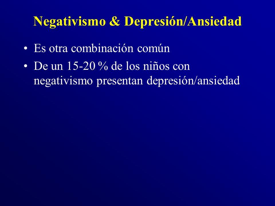 Negativismo & Depresión/Ansiedad Es otra combinación común De un 15-20 % de los niños con negativismo presentan depresión/ansiedad