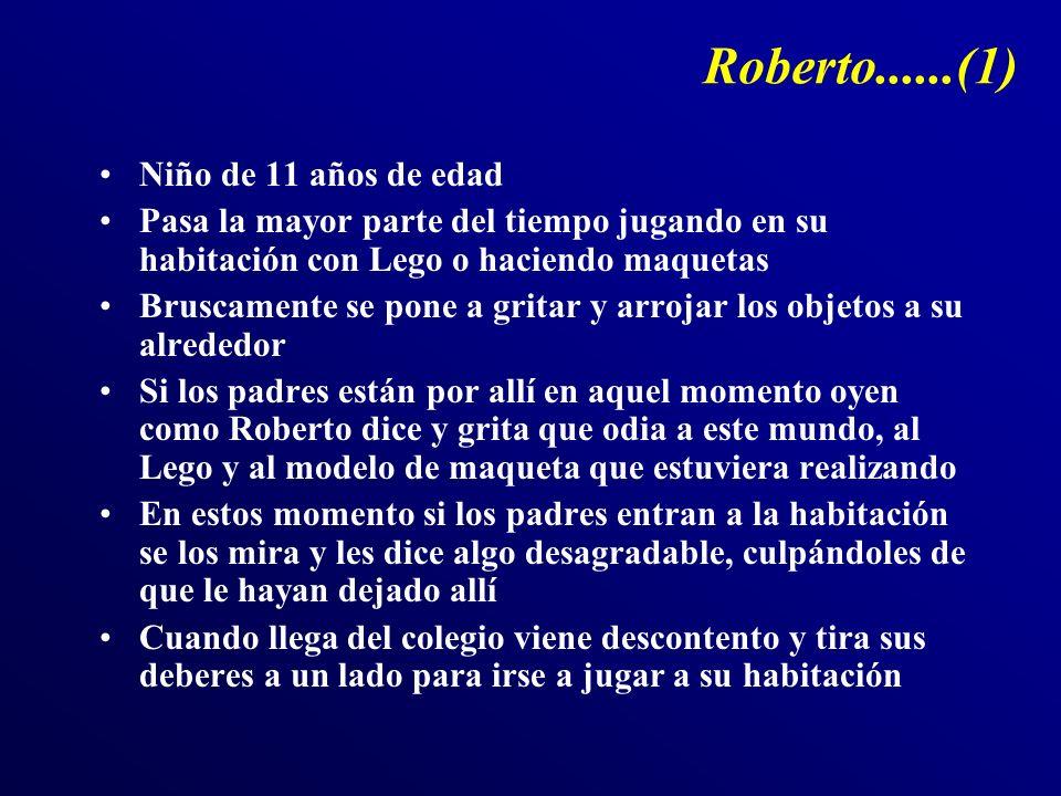Roberto......(1) Niño de 11 años de edad Pasa la mayor parte del tiempo jugando en su habitación con Lego o haciendo maquetas Bruscamente se pone a gr