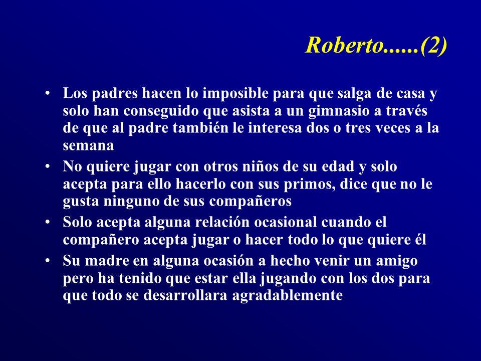 Roberto......(2) Los padres hacen lo imposible para que salga de casa y solo han conseguido que asista a un gimnasio a través de que al padre también