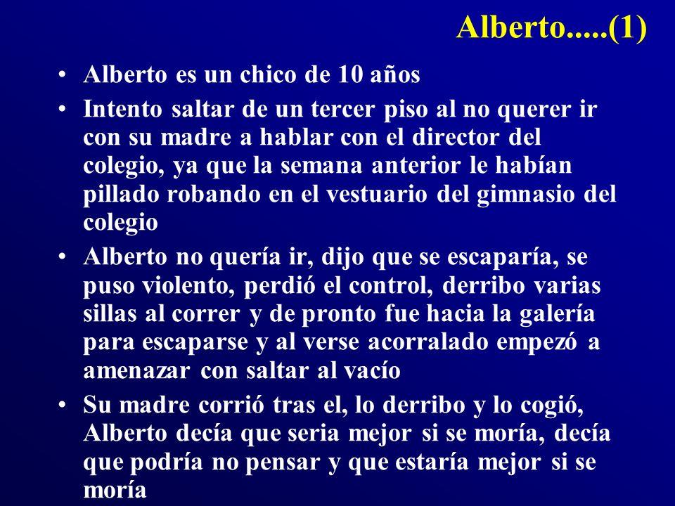 Alberto.....(1) Alberto es un chico de 10 años Intento saltar de un tercer piso al no querer ir con su madre a hablar con el director del colegio, ya