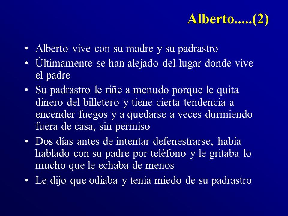 Alberto.....(2) Alberto vive con su madre y su padrastro Últimamente se han alejado del lugar donde vive el padre Su padrastro le riñe a menudo porque
