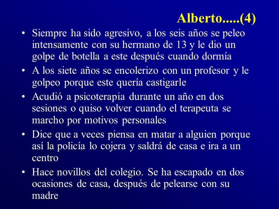 Alberto.....(4) Siempre ha sido agresivo, a los seis años se peleo intensamente con su hermano de 13 y le dio un golpe de botella a este después cuand