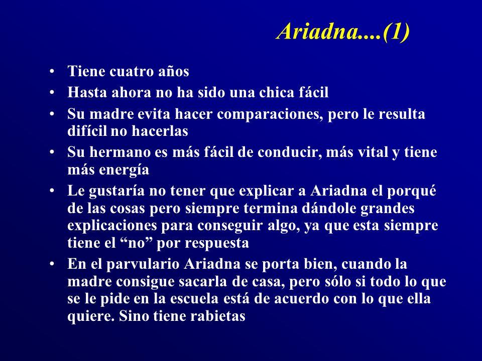 Ariadna....(1) Tiene cuatro años Hasta ahora no ha sido una chica fácil Su madre evita hacer comparaciones, pero le resulta difícil no hacerlas Su her