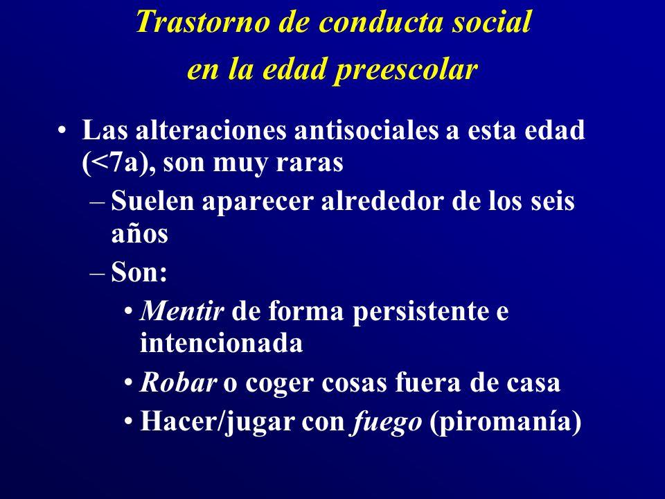 Trastorno de conducta social en la edad preescolar Las alteraciones antisociales a esta edad (<7a), son muy raras –Suelen aparecer alrededor de los se