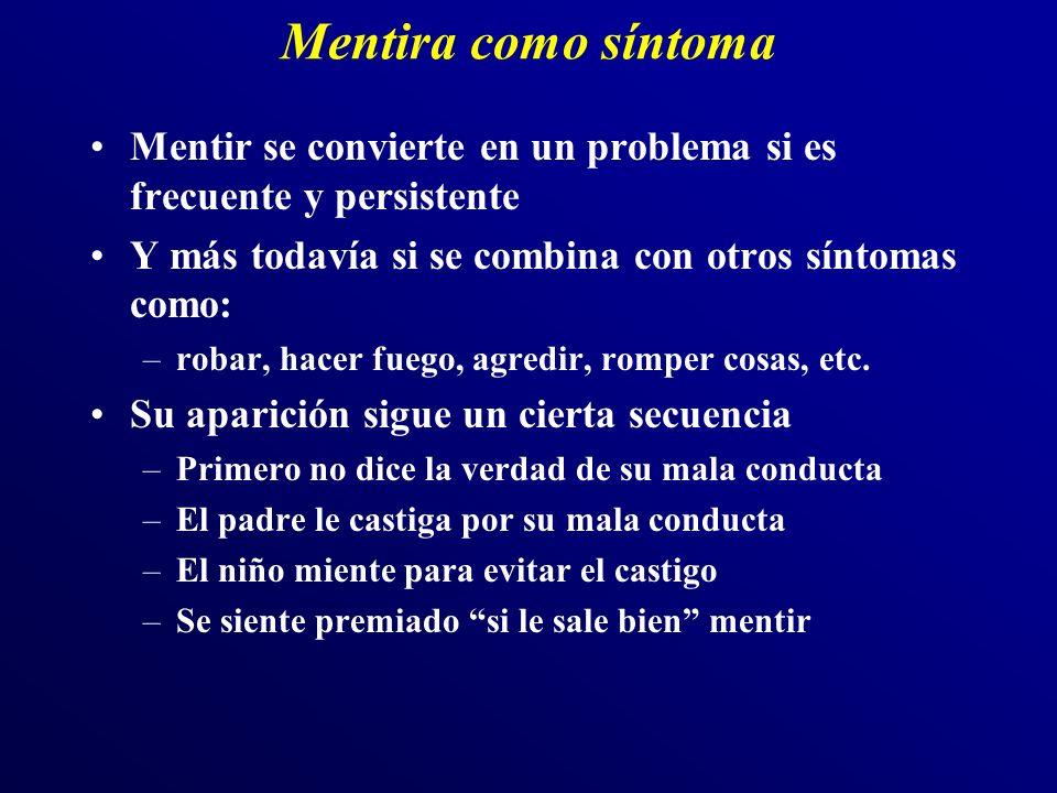 Mentira como síntoma Mentir se convierte en un problema si es frecuente y persistente Y más todavía si se combina con otros síntomas como: –robar, hacer fuego, agredir, romper cosas, etc.