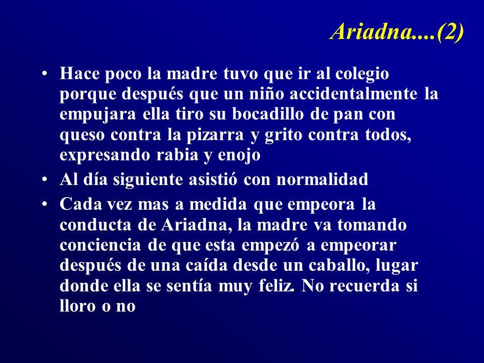 Ariadna....(2) Hace poco la madre tuvo que ir al colegio porque después que un niño accidentalmente la empujara ella tiro su bocadillo de pan con ques