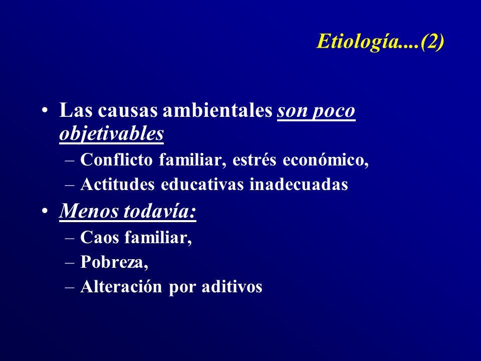 Etiología....(2) Las causas ambientales son poco objetivables –Conflicto familiar, estrés económico, –Actitudes educativas inadecuadas Menos todavía: –Caos familiar, –Pobreza, –Alteración por aditivos