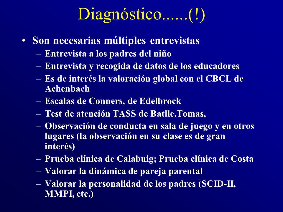 Diagnóstico......(!) Son necesarias múltiples entrevistas –Entrevista a los padres del niño –Entrevista y recogida de datos de los educadores –Es de i