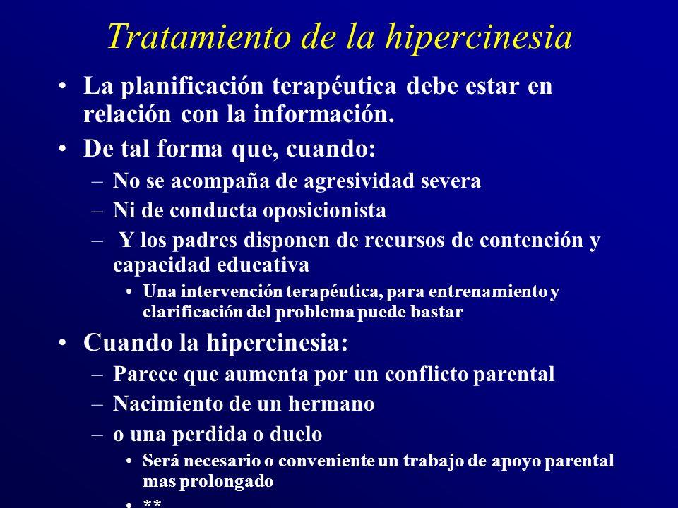 Tratamiento de la hipercinesia La planificación terapéutica debe estar en relación con la información. De tal forma que, cuando: –No se acompaña de ag