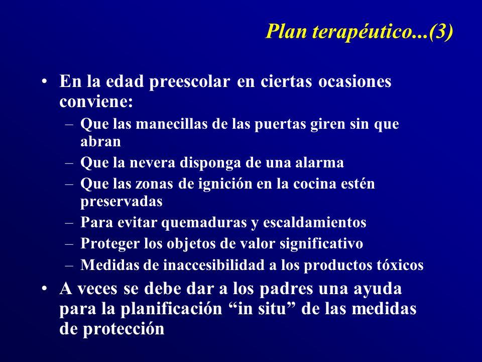 Plan terapéutico...(3) En la edad preescolar en ciertas ocasiones conviene: –Que las manecillas de las puertas giren sin que abran –Que la nevera disp