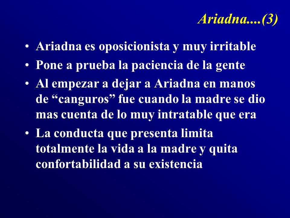 Ariadna....(3) Ariadna es oposicionista y muy irritable Pone a prueba la paciencia de la gente Al empezar a dejar a Ariadna en manos de canguros fue c