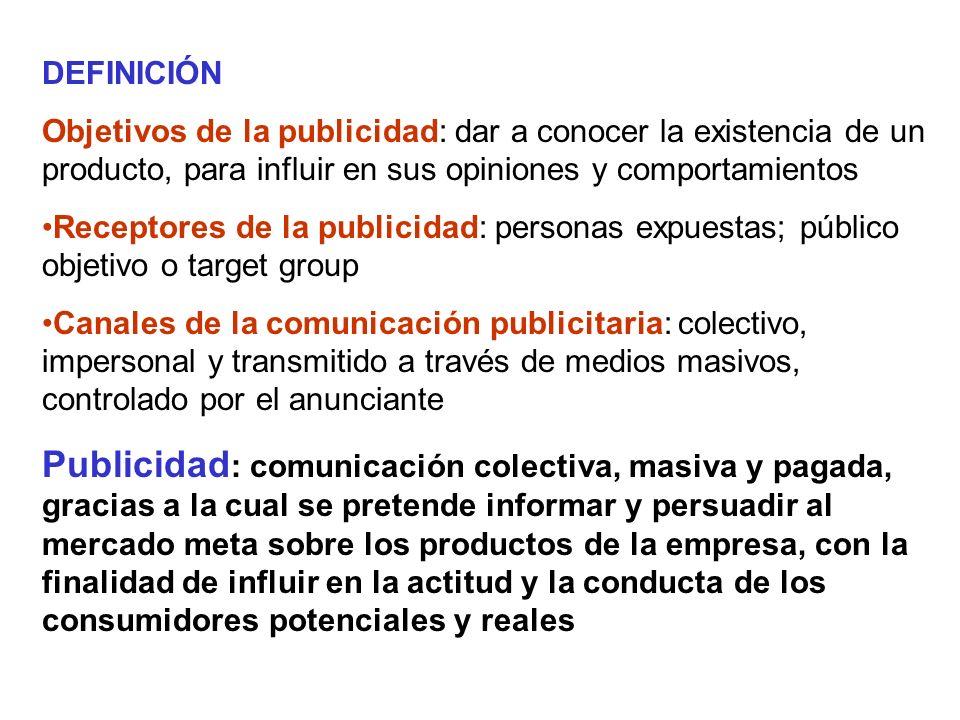 CARACTERÍSTICAS Impersonal Remunerada y controlada Coste por contacto bajo (global alto) Multipicidad de ámbitos de aplicación Objetivos básicos: informar y persuadir