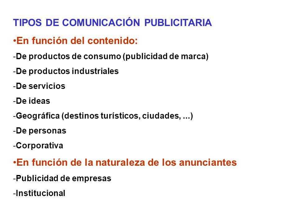 TIPOS DE COMUNICACIÓN PUBLICITARIA En función del número de anunciantes: - Individual - Colectiva En función del tipo de mensaje: - De introducción (nuevo producto) - De educación (concienciación social) - De prestigio - De recuerdo (top of mind) - Comparativa