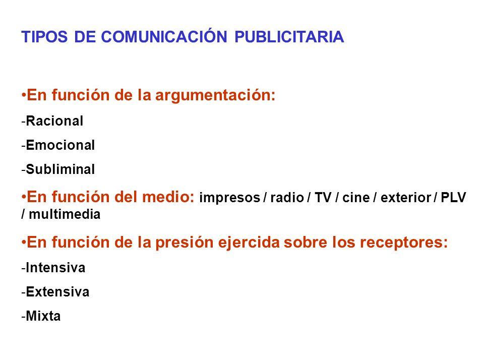 MEDIOS - La prensa escrita -Diarios -Revistas -Gratuitos - La radio - El cine - La televisión - Publicidad exterior -Vallas -Móvil -Estática -Mobiliario urbano - PLV - Nuevos medios: web