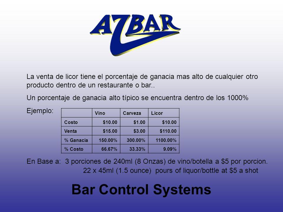 Bar Control Systems La venta de licor tiene el porcentaje de ganacia mas alto de cualquier otro producto dentro de un restaurante o bar.. Un porcentaj
