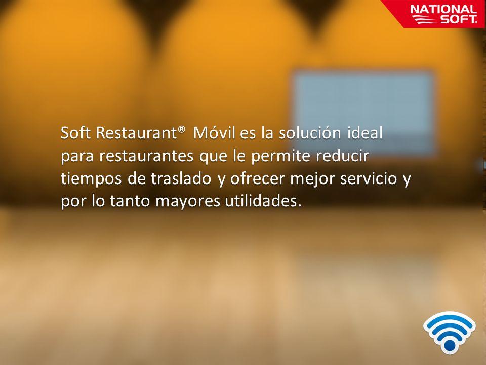 Soft Restaurant® Móvil es la solución ideal para restaurantes que le permite reducir tiempos de traslado y ofrecer mejor servicio y por lo tanto mayor