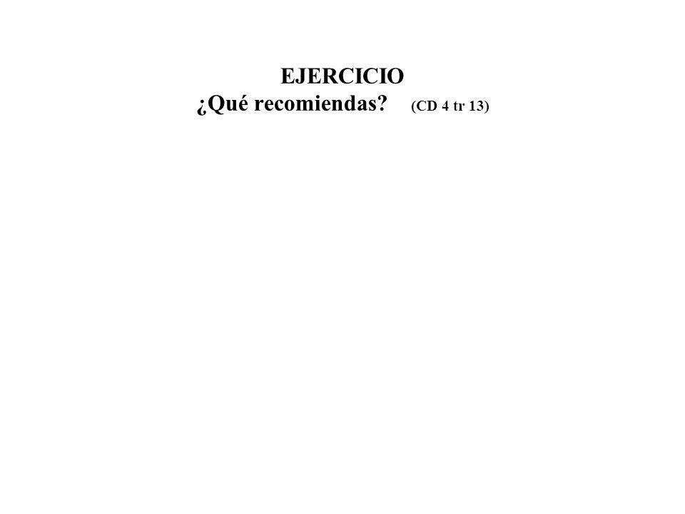EJERCICIO ¿Qué recomiendas (CD 4 tr 13)