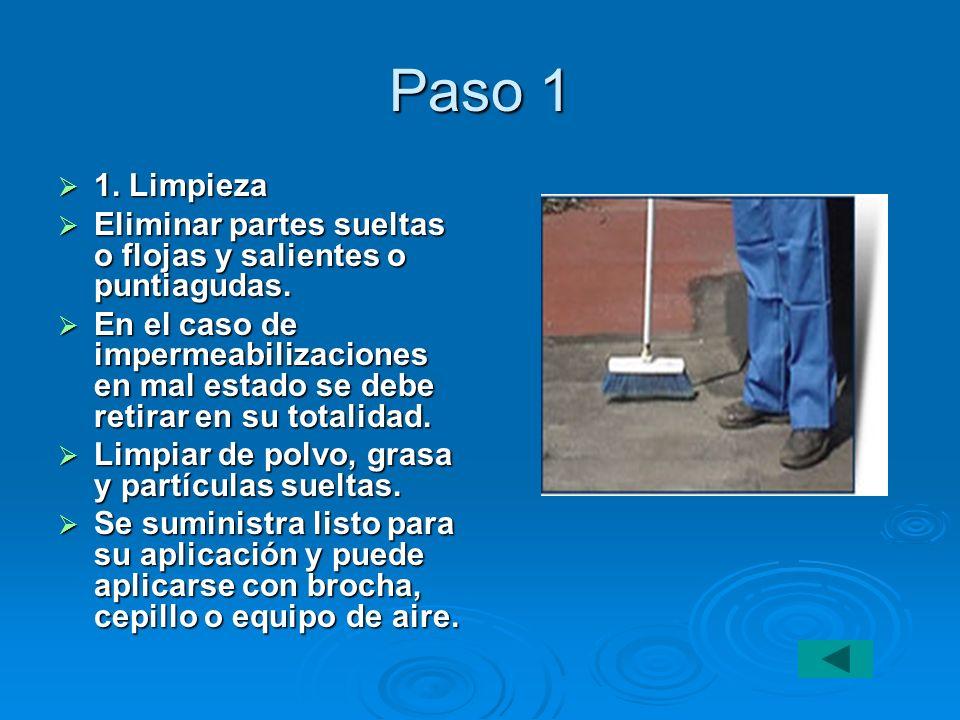 Paso 1 1. Limpieza 1. Limpieza Eliminar partes sueltas o flojas y salientes o puntiagudas. Eliminar partes sueltas o flojas y salientes o puntiagudas.