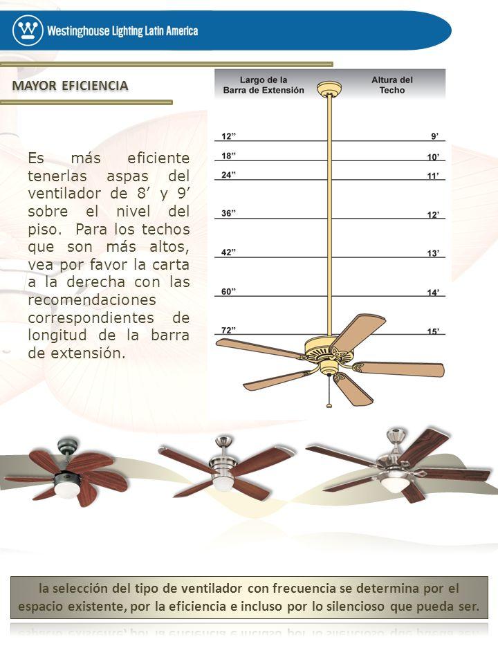 MAYOR EFICIENCIA Es más eficiente tenerlas aspas del ventilador de 8 y 9 sobre el nivel del piso. Para los techos que son más altos, vea por favor la