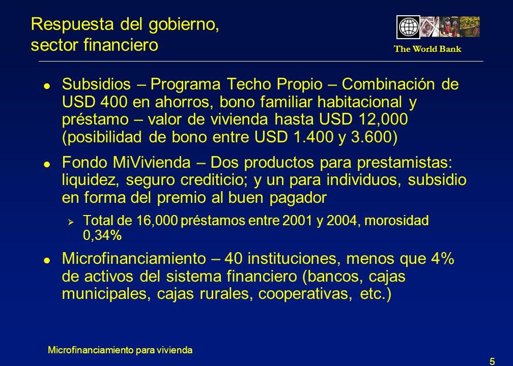 The World Bank Microfinanciamiento para vivienda 5 Respuesta del gobierno, sector financiero l Subsidios – Programa Techo Propio – Combinación de USD 400 en ahorros, bono familiar habitacional y préstamo – valor de vivienda hasta USD 12,000 (posibilidad de bono entre USD 1.400 y 3.600) l Fondo MiVivienda – Dos productos para prestamistas: liquidez, seguro crediticio; y un para individuos, subsidio en forma del premio al buen pagador Total de 16,000 préstamos entre 2001 y 2004, morosidad 0,34% l Microfinanciamiento – 40 instituciones, menos que 4% de activos del sistema financiero (bancos, cajas municipales, cajas rurales, cooperativas, etc.)