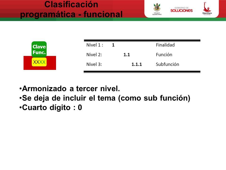 Clasificación programática - funcional Clave Func.XX Armonizado a tercer nivel. Se deja de incluir el tema (como sub función) Cuarto dígito : 0