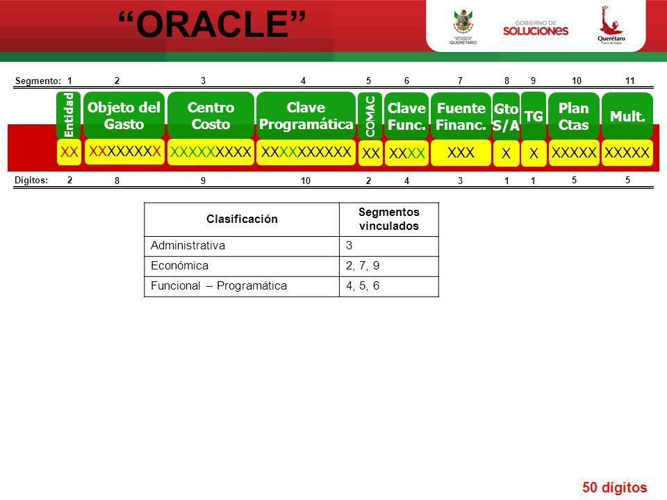 ORACLE Clave Func.XX Clave Programática XXXXXXXXXX Objeto del Gasto XXXXXXXX Entidad XX COMAC XX Gto S/A X Fuente Financ. XXX TG X Plan Ctas XXXXX Mul