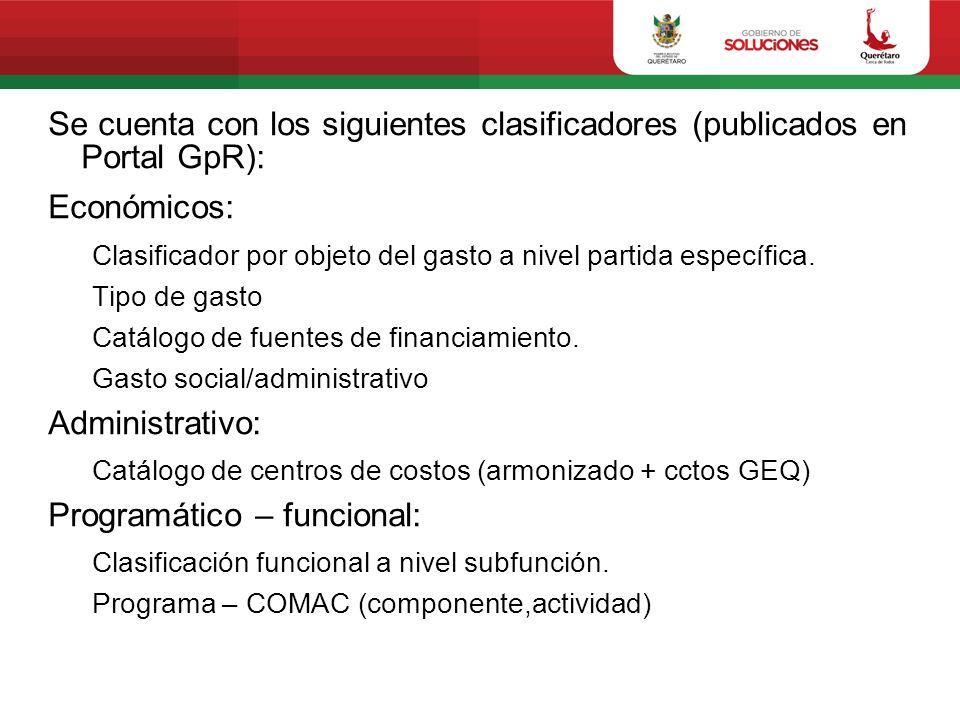 Se cuenta con los siguientes clasificadores (publicados en Portal GpR): Económicos: Clasificador por objeto del gasto a nivel partida específica. Tipo