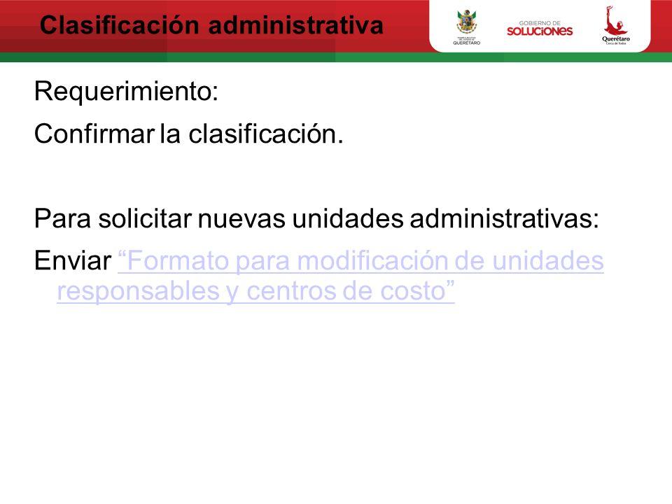 Clasificación administrativa Requerimiento: Confirmar la clasificación. Para solicitar nuevas unidades administrativas: Enviar Formato para modificaci