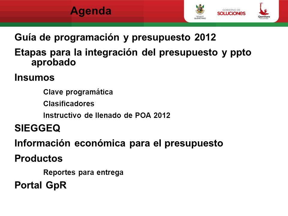 Agenda Guía de programación y presupuesto 2012 Etapas para la integración del presupuesto y ppto aprobado Insumos Clave programática Clasificadores In