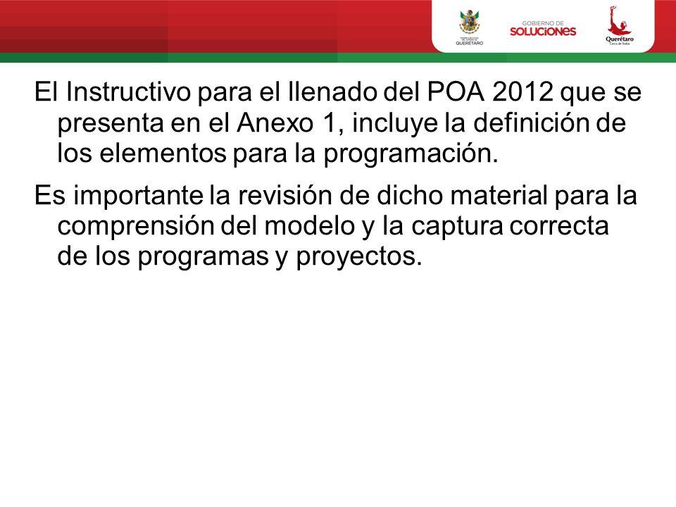 El Instructivo para el llenado del POA 2012 que se presenta en el Anexo 1, incluye la definición de los elementos para la programación. Es importante