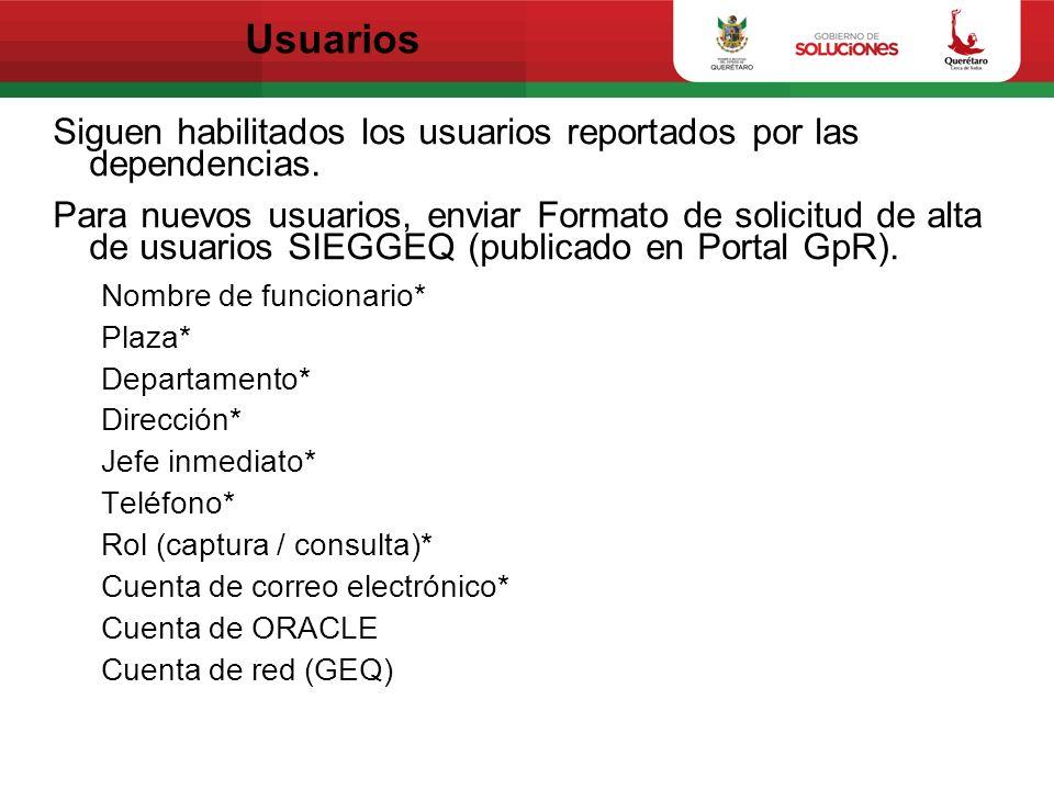 Usuarios Siguen habilitados los usuarios reportados por las dependencias. Para nuevos usuarios, enviar Formato de solicitud de alta de usuarios SIEGGE