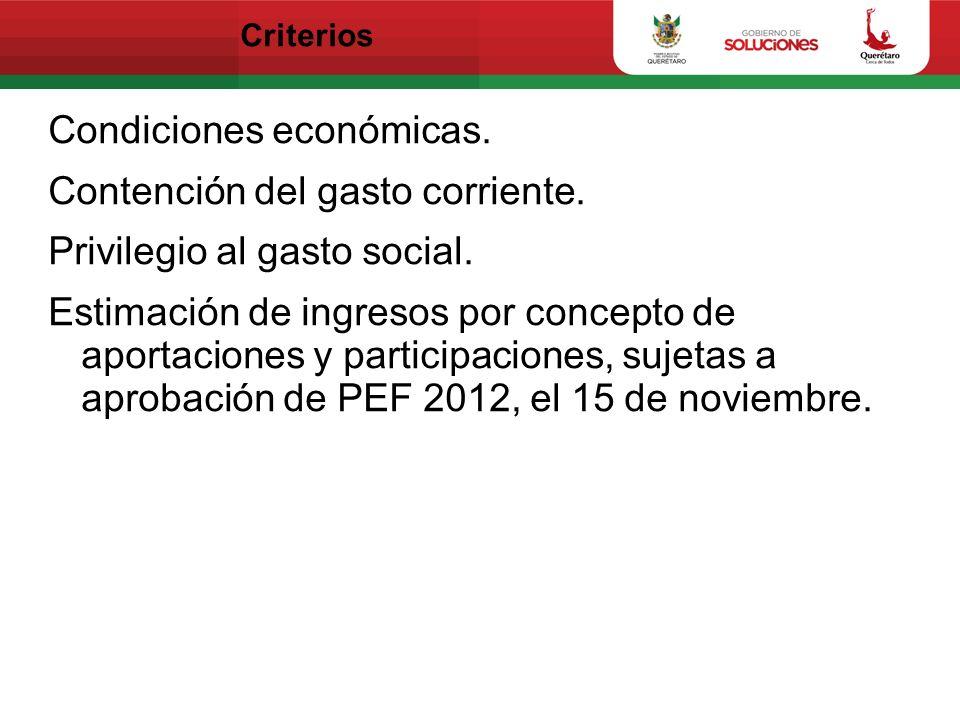 Criterios Condiciones económicas. Contención del gasto corriente. Privilegio al gasto social. Estimación de ingresos por concepto de aportaciones y pa
