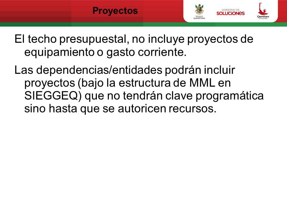 Proyectos El techo presupuestal, no incluye proyectos de equipamiento o gasto corriente. Las dependencias/entidades podrán incluir proyectos (bajo la