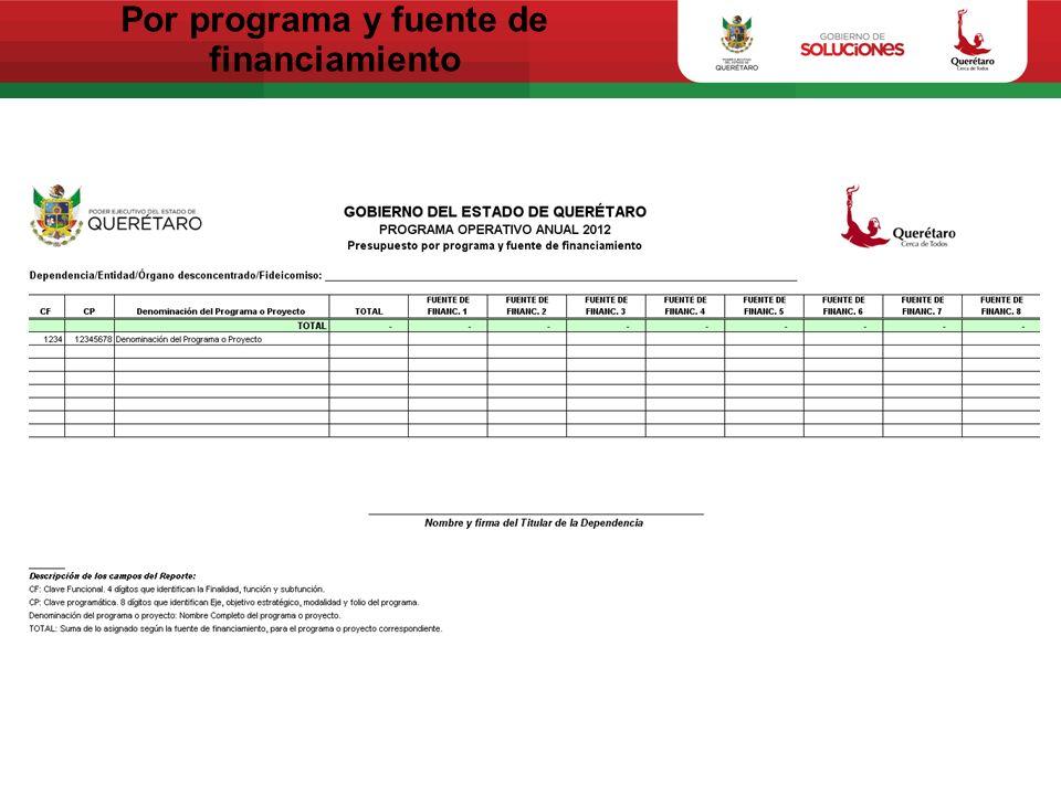 Por programa y fuente de financiamiento