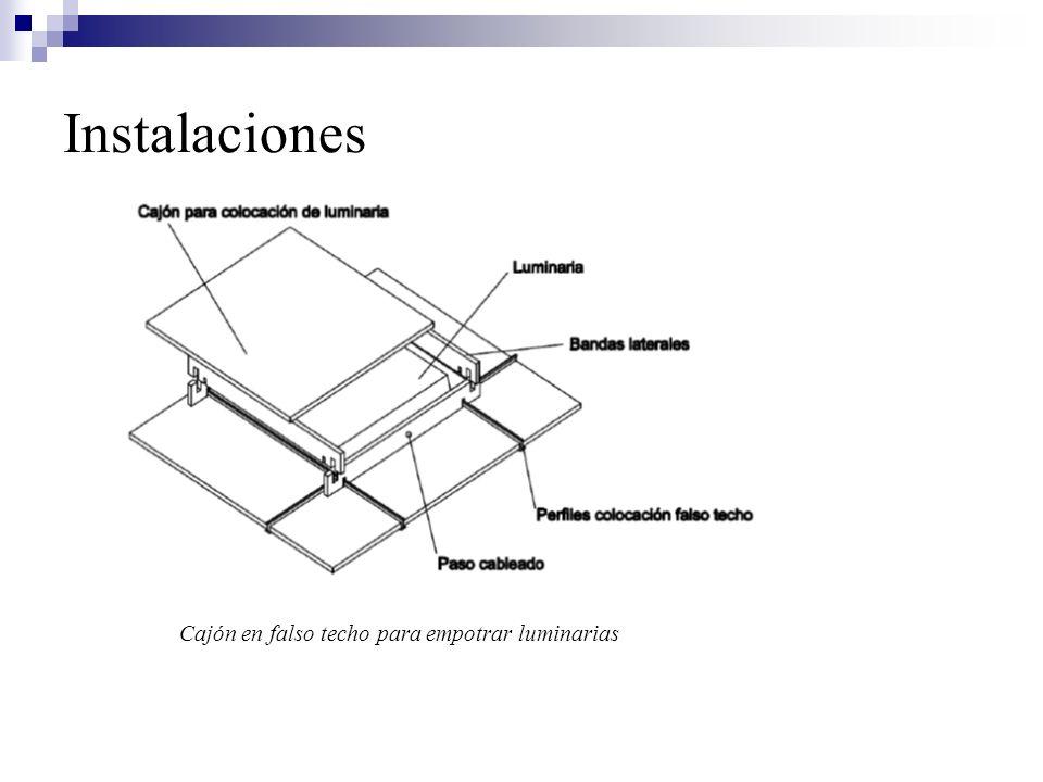 Cajón en falso techo para empotrar luminarias Instalaciones