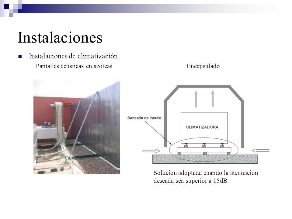 Instalaciones de climatización Pantallas acústicas en azoteas Encapsulado Solución adoptada cuando la atenuación deseada sea superior a 15dB Instalaci