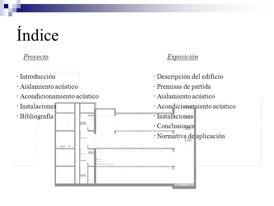 Índice Proyecto Exposición · Introducción· Descripción del edificio · Aislamiento acústico· Premisas de partida · Acondicionamiento acústico· Aislamie