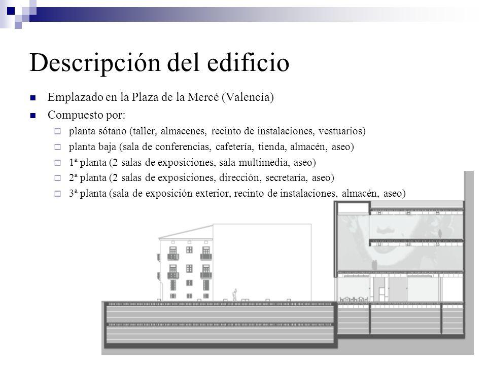 Descripción del edificio Emplazado en la Plaza de la Mercé (Valencia) Compuesto por: planta sótano (taller, almacenes, recinto de instalaciones, vestu