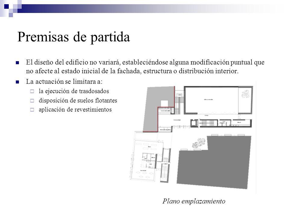 Premisas de partida El diseño del edificio no variará, estableciéndose alguna modificación puntual que no afecte al estado inicial de la fachada, estr