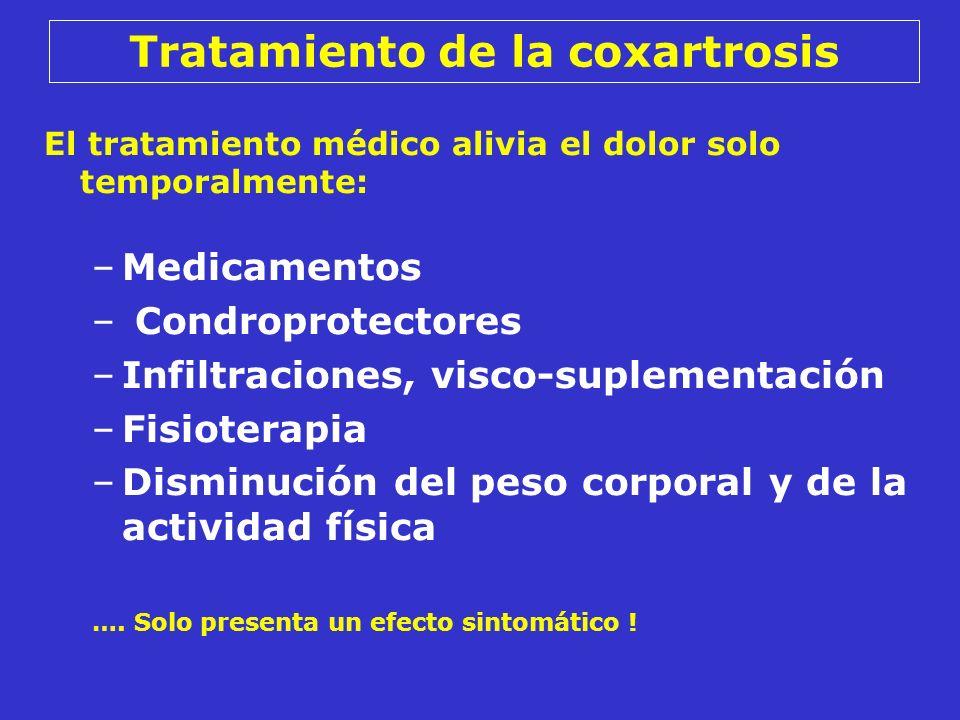El tratamiento médico alivia el dolor solo temporalmente: –Medicamentos – Condroprotectores –Infiltraciones, visco-suplementación –Fisioterapia –Dismi