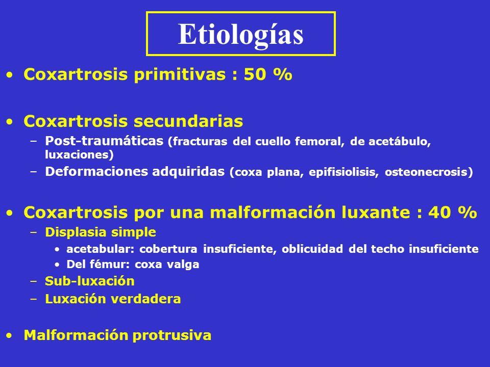 Coxartrosis primitivas : 50 % Coxartrosis secundarias –Post-traumáticas (fracturas del cuello femoral, de acetábulo, luxaciones) –Deformaciones adquir