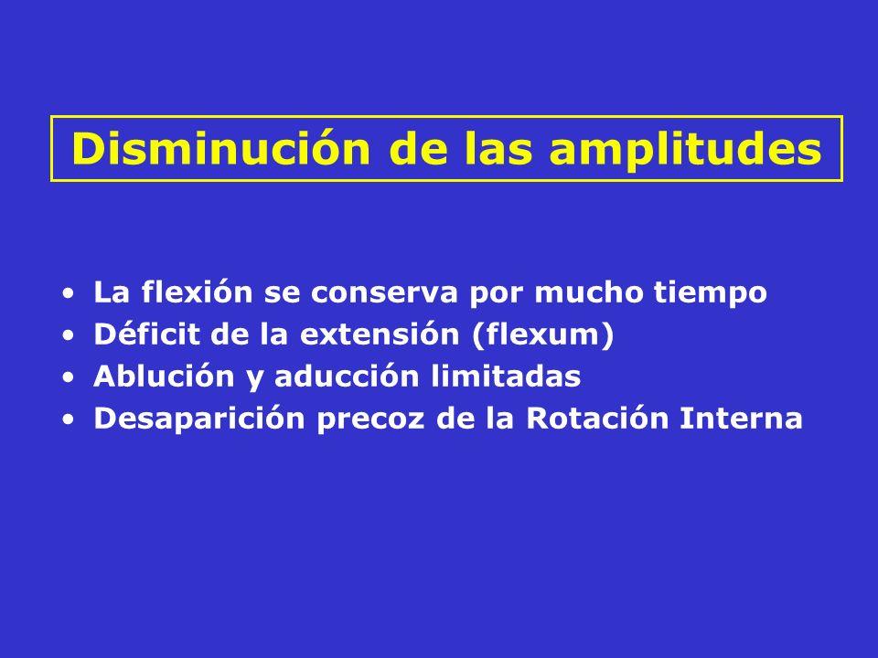 La flexión se conserva por mucho tiempo Déficit de la extensión (flexum) Ablución y aducción limitadas Desaparición precoz de la Rotación Interna Dism