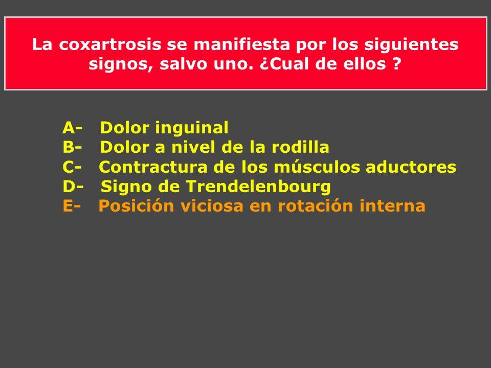 La coxartrosis se manifiesta por los siguientes signos, salvo uno. ¿Cual de ellos ? A- Dolor inguinal B- Dolor a nivel de la rodilla C- Contractura de