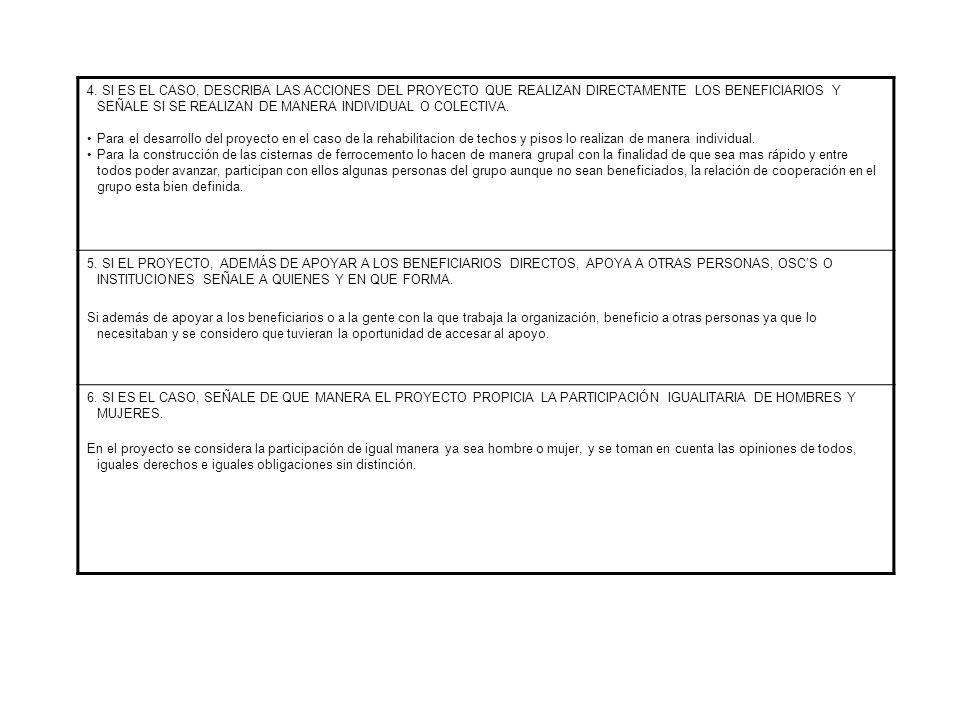 4. SI ES EL CASO, DESCRIBA LAS ACCIONES DEL PROYECTO QUE REALIZAN DIRECTAMENTE LOS BENEFICIARIOS Y SEÑALE SI SE REALIZAN DE MANERA INDIVIDUAL O COLECT