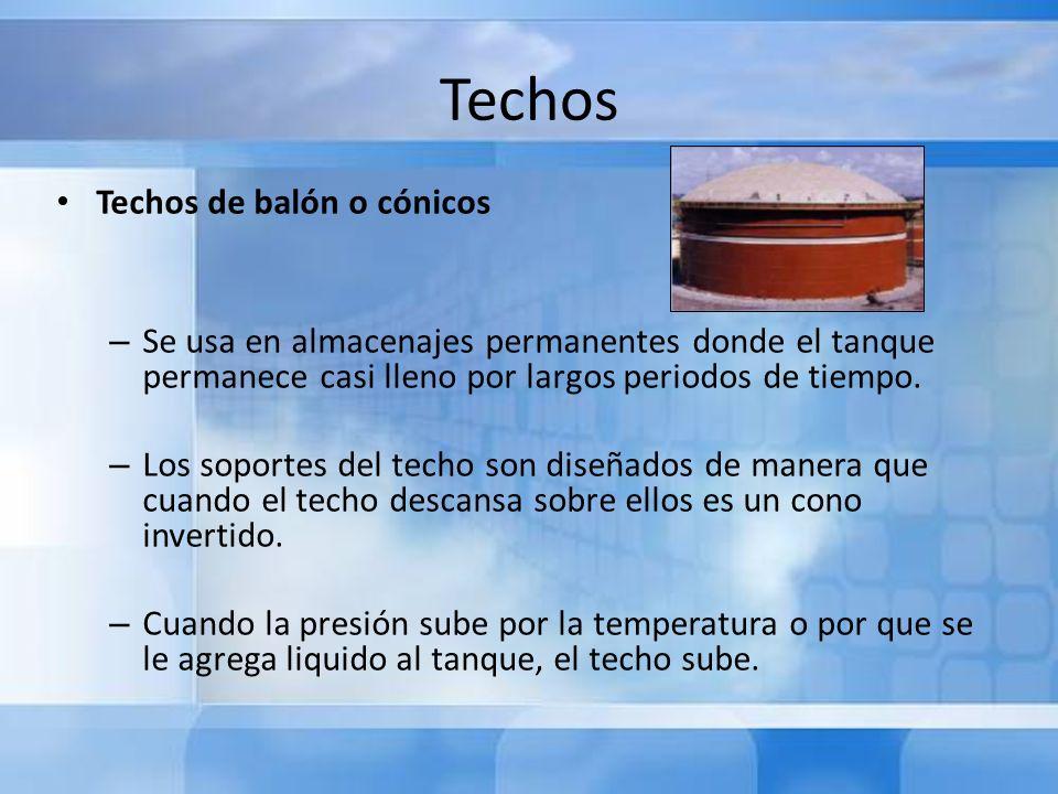 Techos Techos de balón o cónicos – Se usa en almacenajes permanentes donde el tanque permanece casi lleno por largos periodos de tiempo. – Los soporte